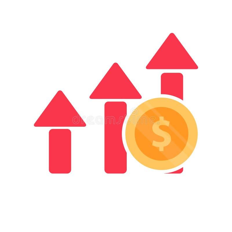 Aumente el icono de la carta del beneficio Valor añadido del interés compuesto, mercado de acción de las inversiones financieras  ilustración del vector