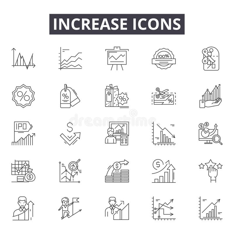 Aumente la línea iconos para la web y el diseño móvil Muestras Editable del movimiento Aumente los ejemplos del concepto del esqu stock de ilustración