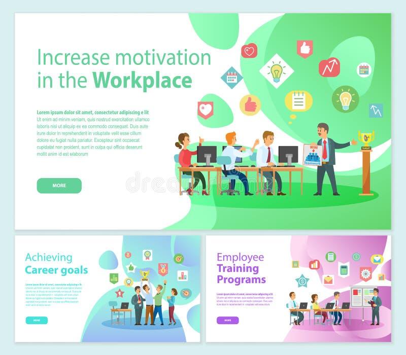 Aumente a motivação em bandeiras do negócio do local de trabalho ilustração do vetor