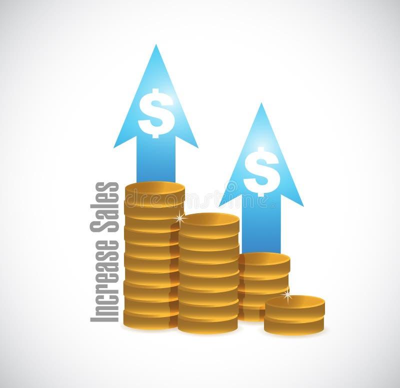 aumente o conceito do sinal do gráfico de negócio das vendas ilustração do vetor