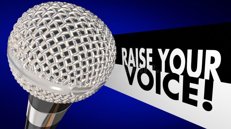 Aumente seu microfone da voz falam cantam acima a conversa ilustração royalty free