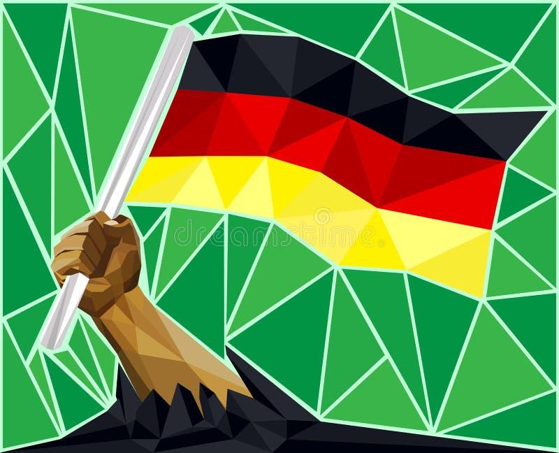 Aumente sua bandeira acima de alto - mão que guarda a bandeira de Alemanha ilustração stock
