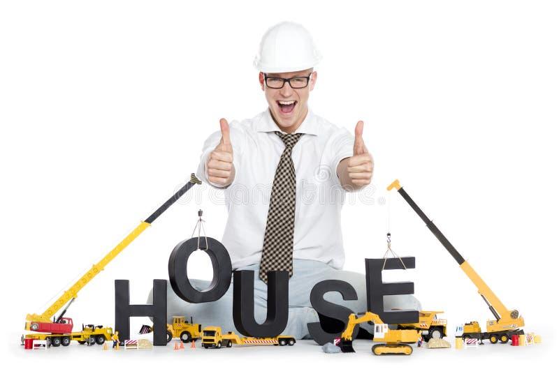 Casa bajo construcción: Casa-palabra del edificio del ingeniero. foto de archivo libre de regalías
