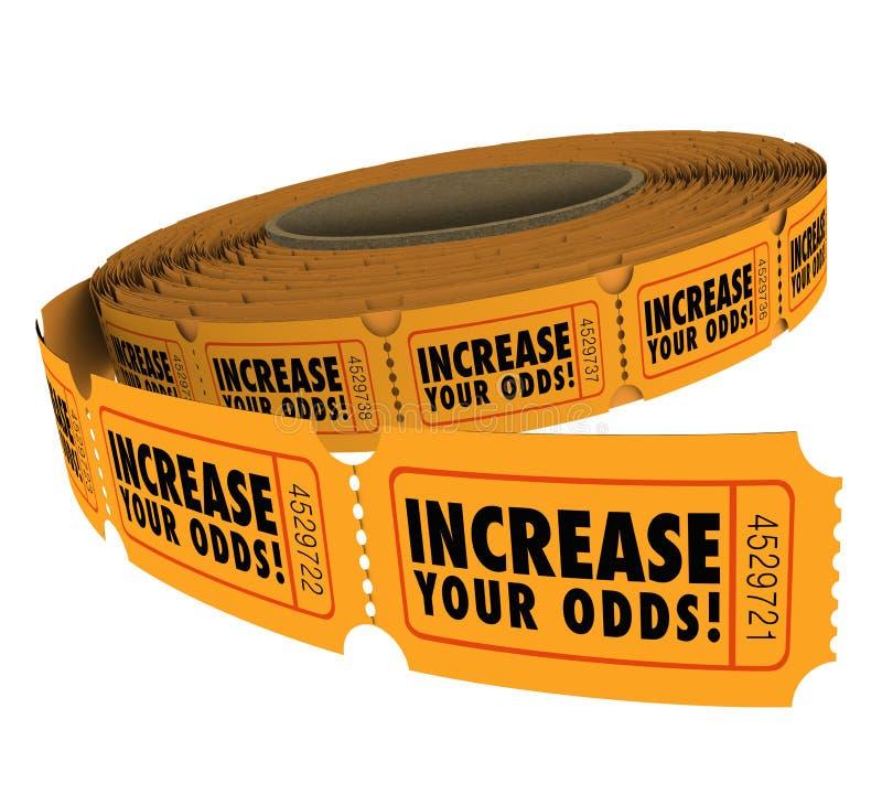 Aumenti i vostri biglietti che di tombola di probabilità il rotolo migliora la conquista di probabilità royalty illustrazione gratis