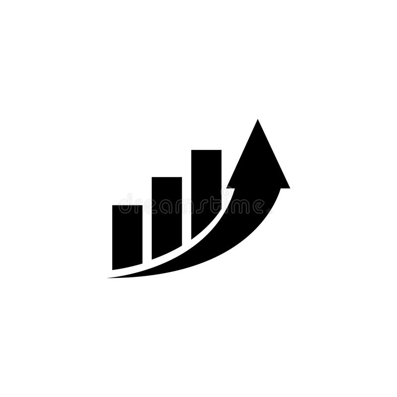Aumenti il grafico di profitto, coltivante l'icona piana di vettore della freccia fotografia stock