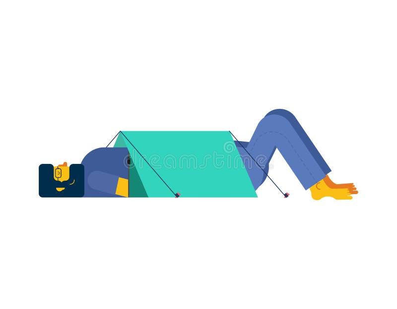 aumento Attaccare fuori testa e le gambe dalla tenda campeggio isolato royalty illustrazione gratis