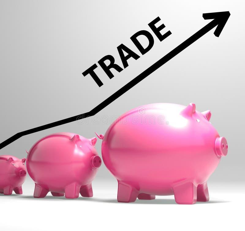 Aumento commerciale di manifestazioni del grafico nell'acquisto e nella vendita illustrazione vettoriale