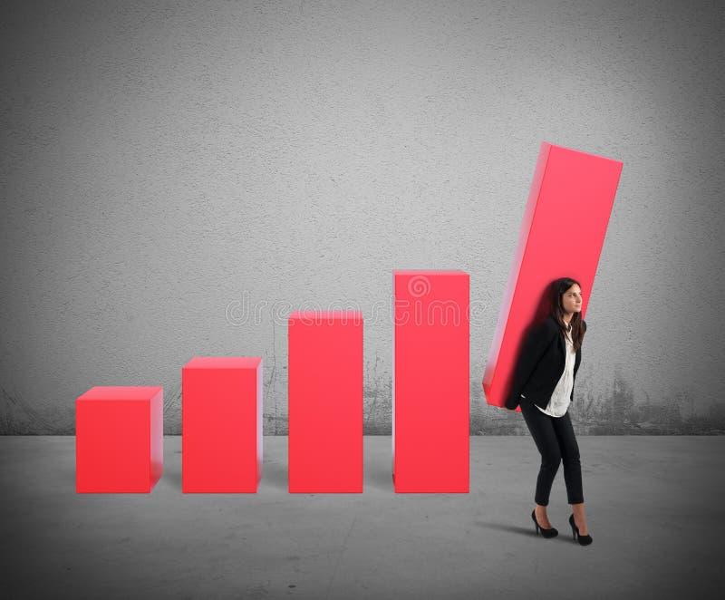 Aumento da mulher de negócios o lucro fotos de stock