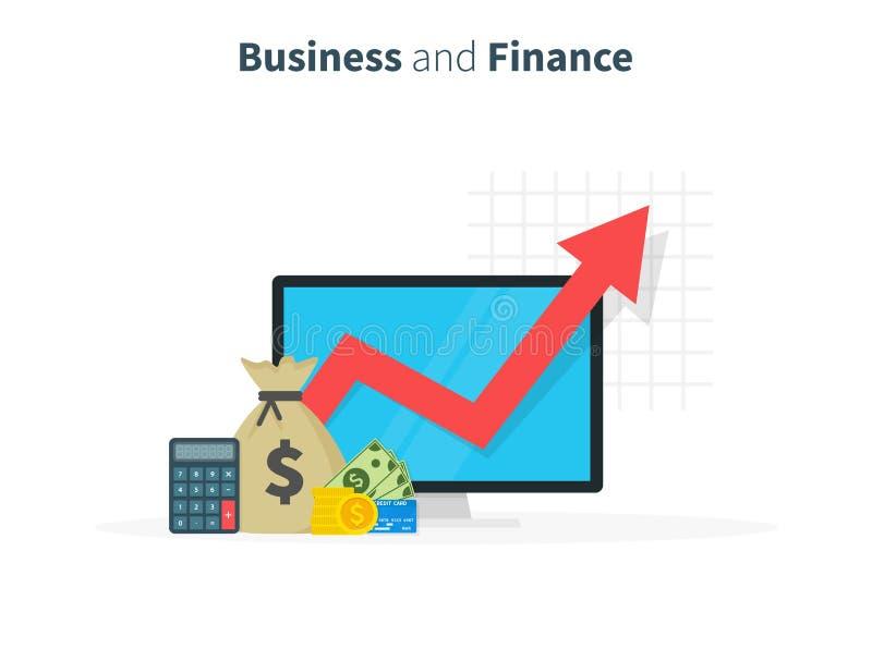 Aumento da renda O desempenho financeiro, relatório da estatística, impulsiona a produtividade do negócio, fundo de investimento  ilustração royalty free