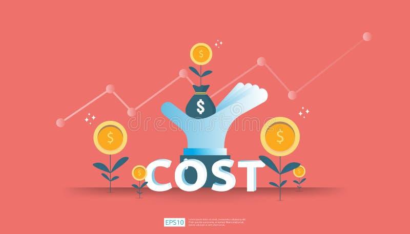aumento da seta para o conceito da redução de custo gestão empresarial em crise perdida e na situação falido despesas e lucro da  ilustração stock