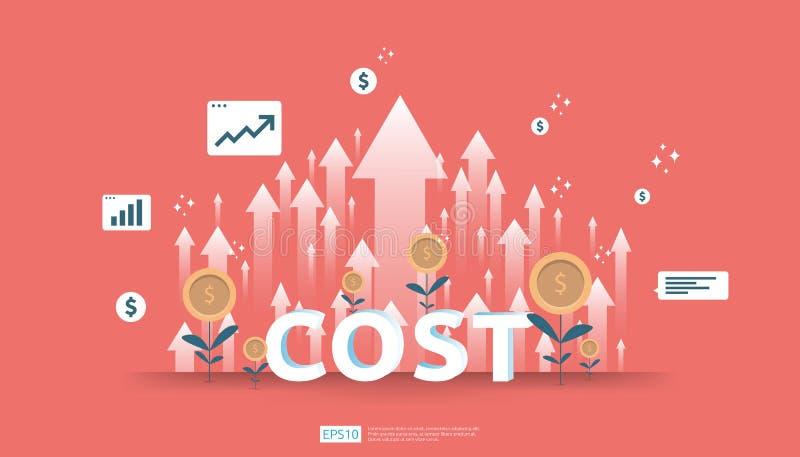 aumento da seta para o conceito da redução de custo gestão empresarial em crise perdida e na situação falido despesas e lucro da  ilustração do vetor