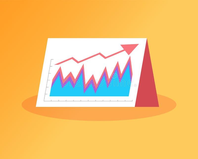 Aumento das vendas, seta da bandeira e gráficos do levantamento ilustração stock
