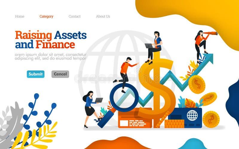 Aumento de Ativos e Finanças aumentar os lucros nos negócios, finanças, investimento e indústria Conceito de ilustração simples v ilustração royalty free