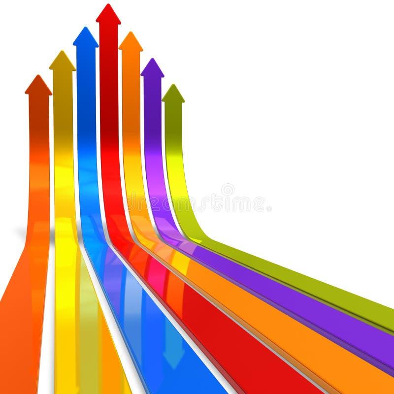 Aumento de flechas del color stock de ilustración