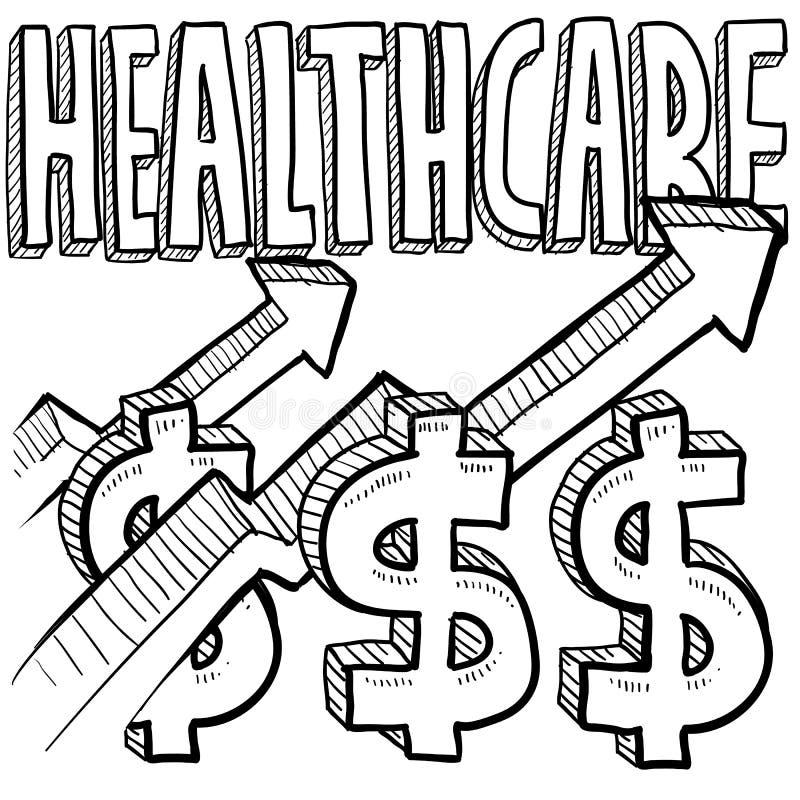 Aumento de los costes de la atención sanitaria ilustración del vector
