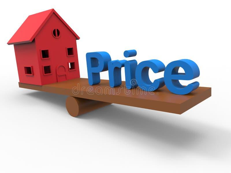 Aumento de preço da habitação - conceito do balanço ilustração royalty free
