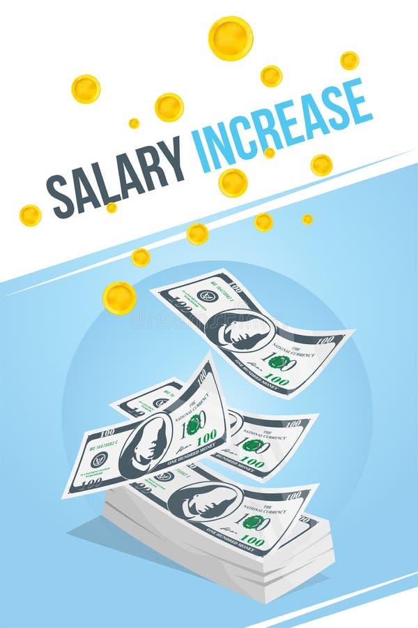 Aumento degli stipendi Insegna con il pacco delle monete dell'icona e dei soldi Illustrazione EPS10 di vettore illustrazione di stock