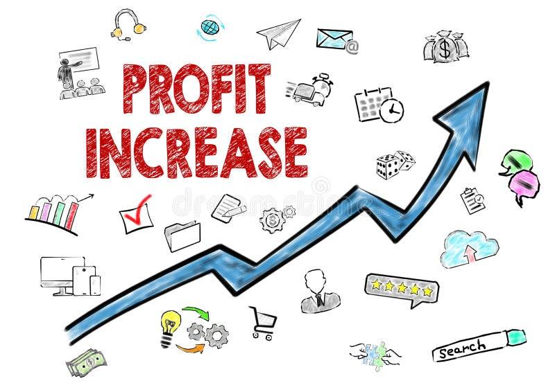 Aumento del beneficio, concepto del negocio Iconos en el fondo blanco ilustración del vector