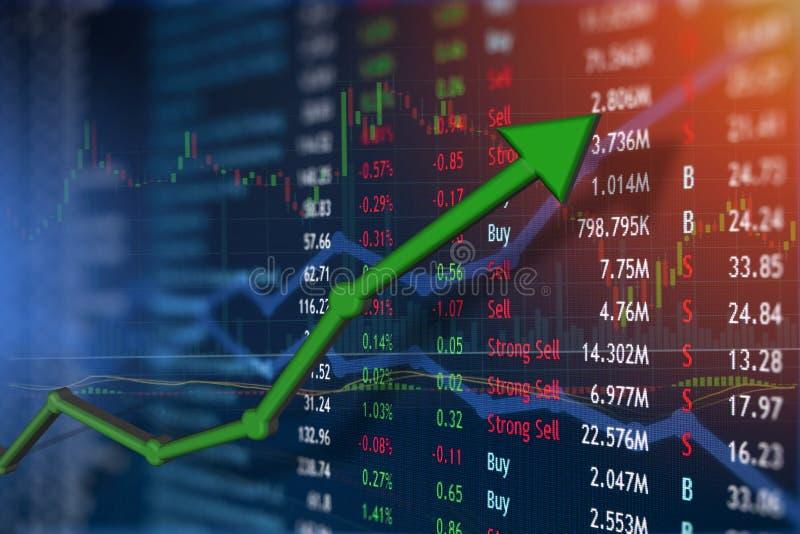 Aumento del concepto del mercado de la inversión y de acción fotografía de archivo libre de regalías