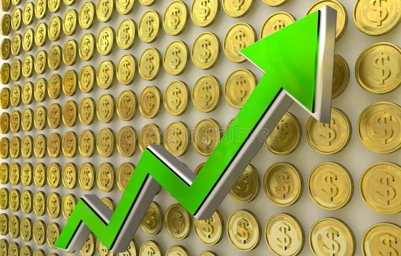 Aumento del dollaro illustrazione di stock