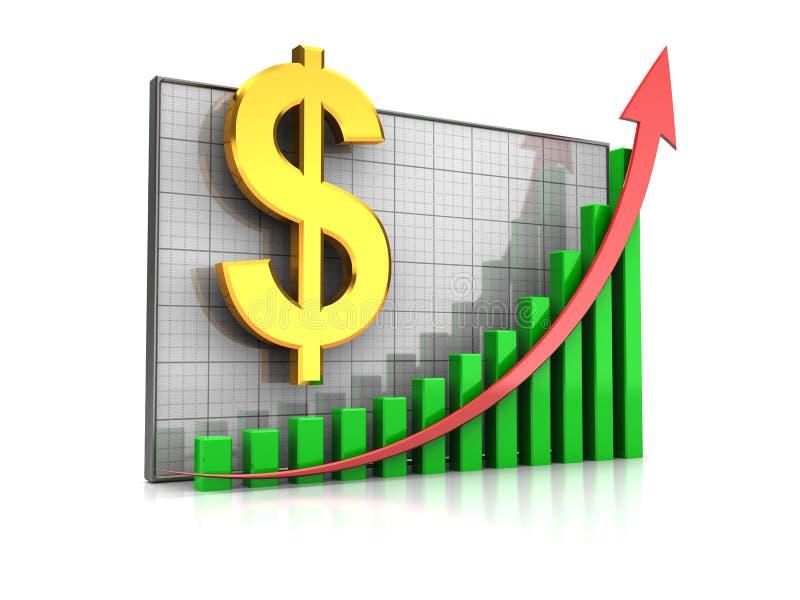 Aumento del dollaro di corso royalty illustrazione gratis