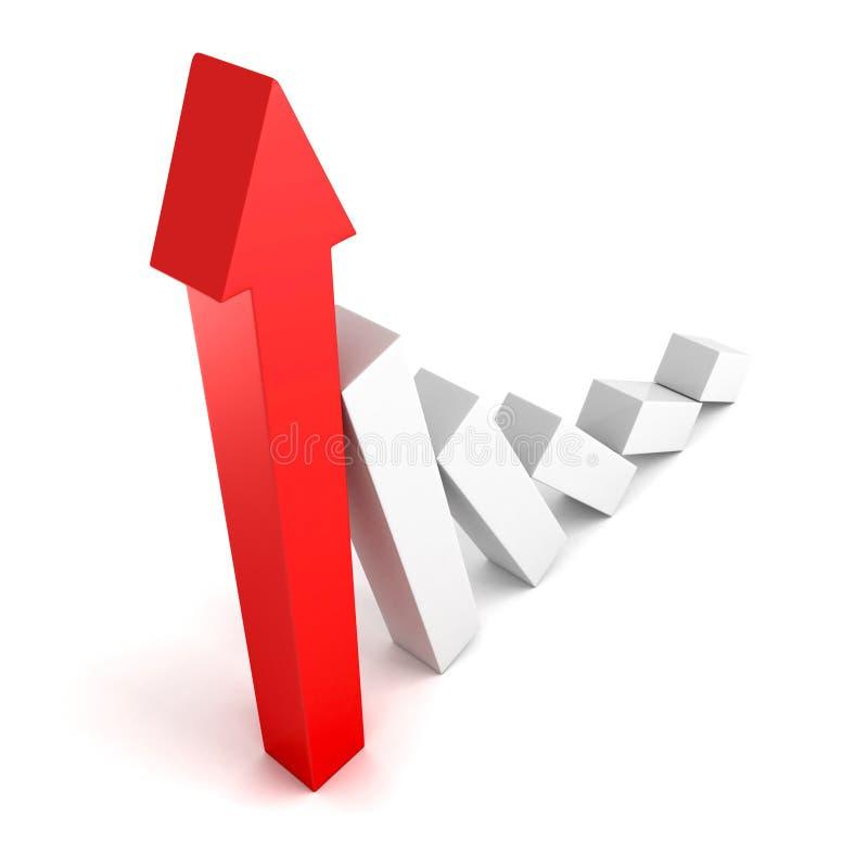 aumento del grafico 3d nei profitti o gorw dei guadagni sulla freccia illustrazione vettoriale