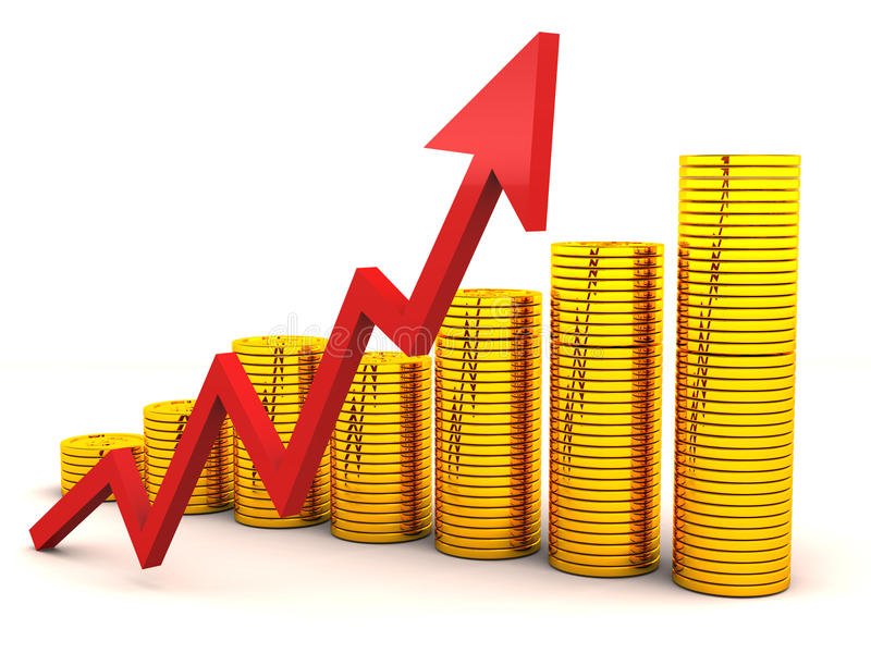 Aumento del grafico di ricchezza illustrazione vettoriale