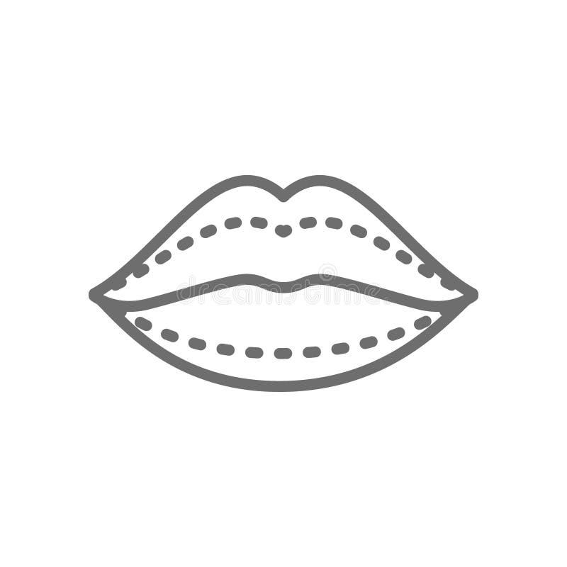 Aumento del labio, inyecciones ácidas hialurónicas, línea icono de la cirugía plástica libre illustration