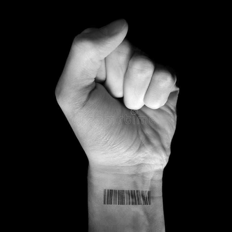 Aumento del puño con el código de barras imágenes de archivo libres de regalías
