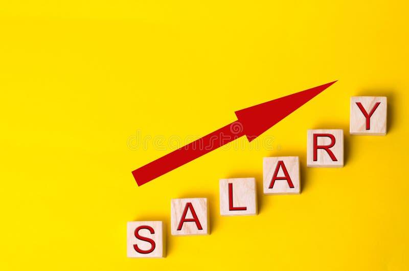 Aumento del sueldo, tarifas salariales Promoción, crecimiento de la carrera aumento del nivel de vida imagenes de archivo