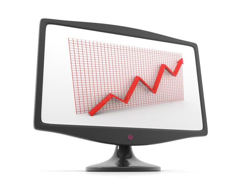 aumento della freccia del grafico 3d nella visualizzazione del video immagine stock
