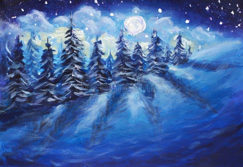 Aumento della luna piena sopra la foresta di inverno coperta di neve fresca Pittura a olio luminosa fantastica di originale della royalty illustrazione gratis