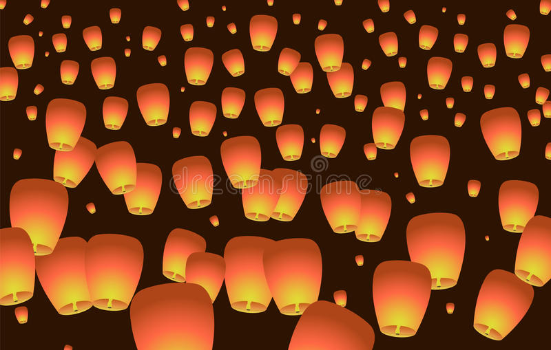 Aumento delle lanterne di Celestial Chinese al cielo illustrazione di stock