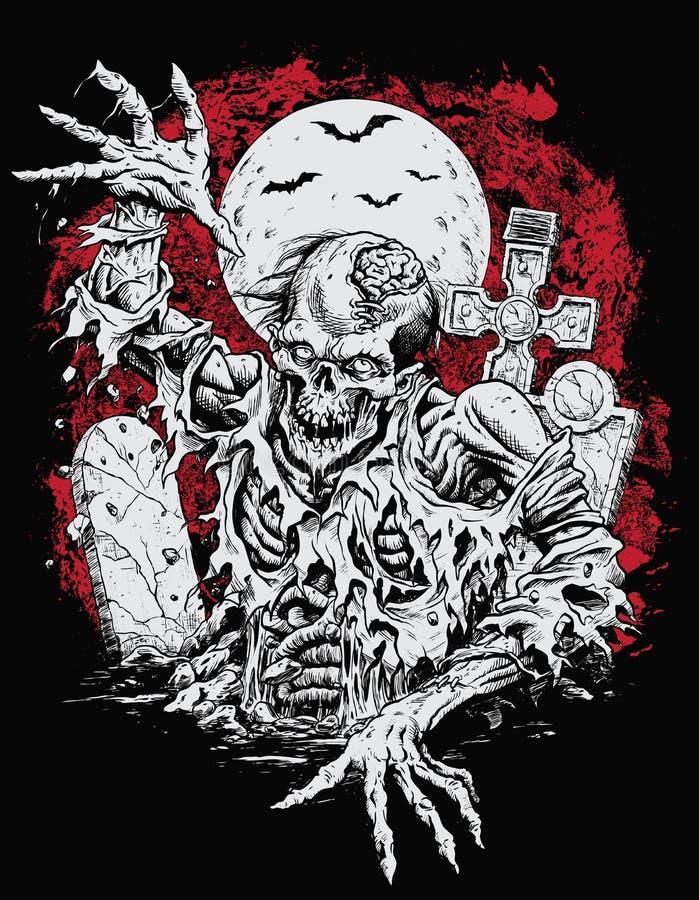 Aumento dello zombie dalla tomba illustrazione vettoriale