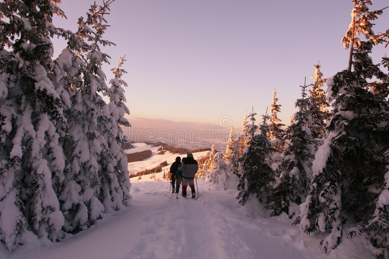 Aumento di inverno sul tramonto fotografie stock libere da diritti