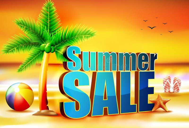 aumento di Sun di vendita di estate 3D alla spiaggia con beach ball la palma royalty illustrazione gratis