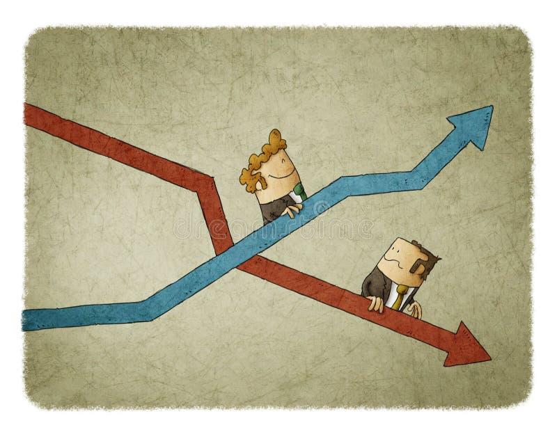 Aumento e caduta degli indicatori di affari royalty illustrazione gratis