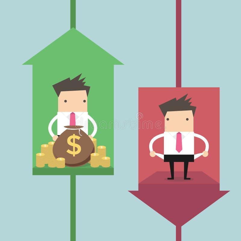 Aumento e caduta degli indicatori di affari Concetto dell'ascensore di carriera illustrazione vettoriale