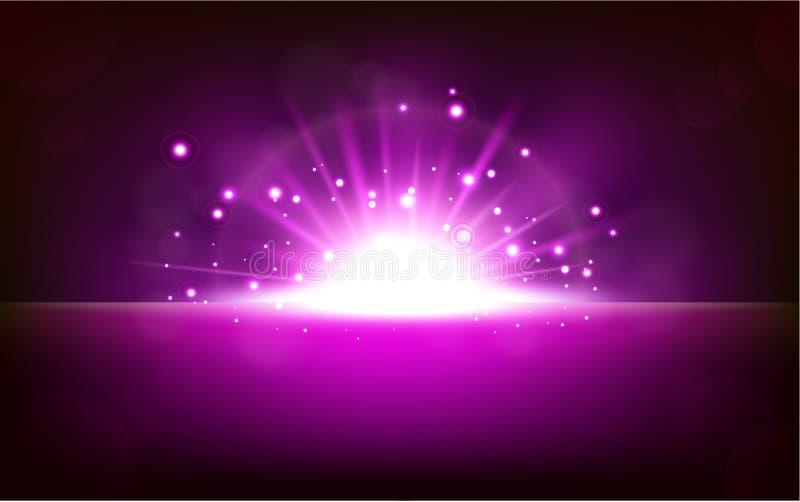 Aumento leggero viola luminoso dall'orizzonte nero illustrazione di stock
