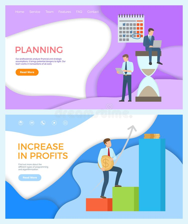 Aumento nei profitti e pianificazione dell'insieme di affari illustrazione di stock
