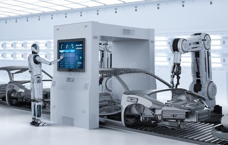 Aumobile fabriksbegrepp för automation royaltyfri illustrationer