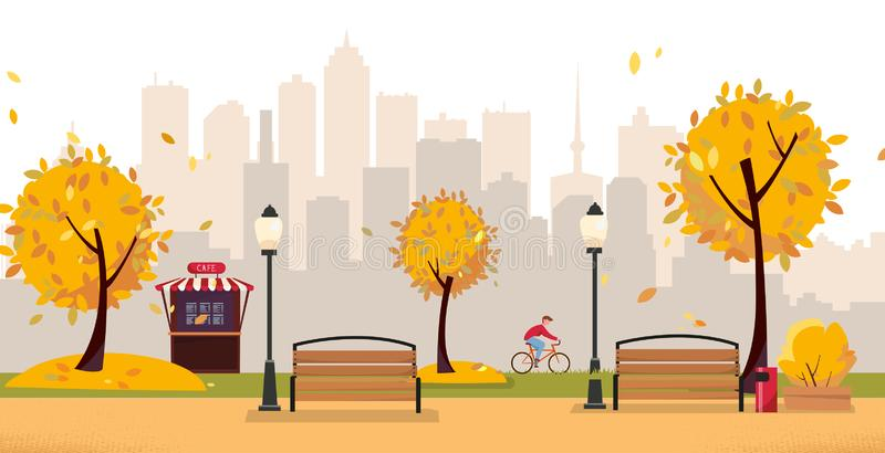 Aumumn leaf fall park. Public park in the city with Street Cafe against high-rise buildings silhouette. Landscape with cyclist, royalty free illustration