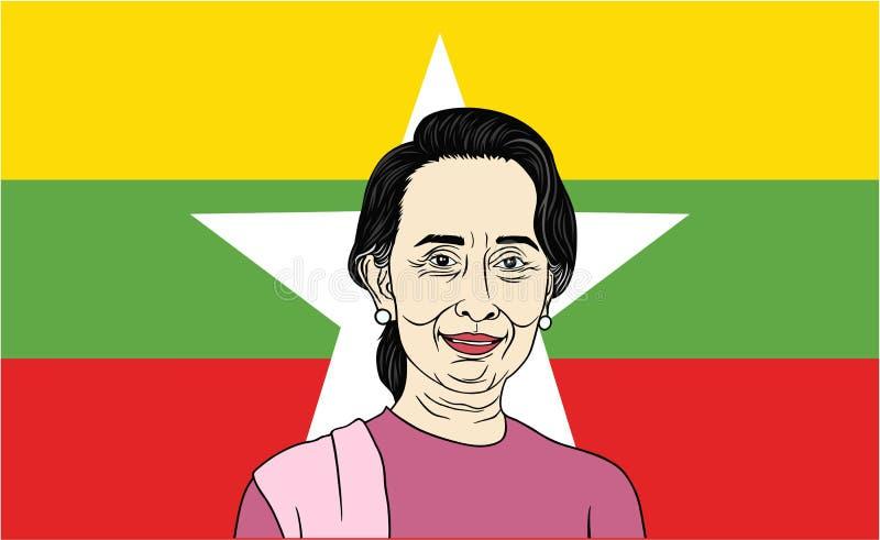 Aung San Suu Kyi, presidente de Myanmar con el fondo de la bandera ilustración del vector