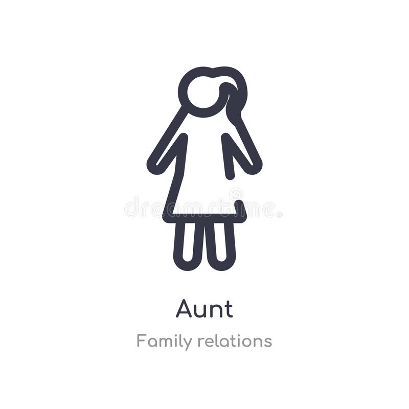 aunt outline icon. isolated line vector illustration from family relations collection. editable thin stroke aunt icon on white royalty free illustration