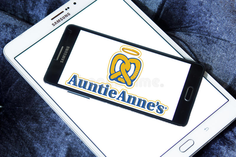 Auntie annes fast food logo. Logo of food franchise and restaurant auntie annes on samsung mobile phone a5 royalty free stock photos
