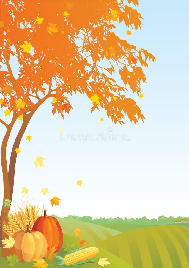 aunumnbakgrund låter vara livstid över still tacksägelse trä vektor illustrationer