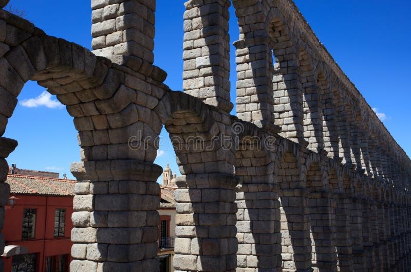 Auqeduct y Catherdal Segovia fotografía de archivo