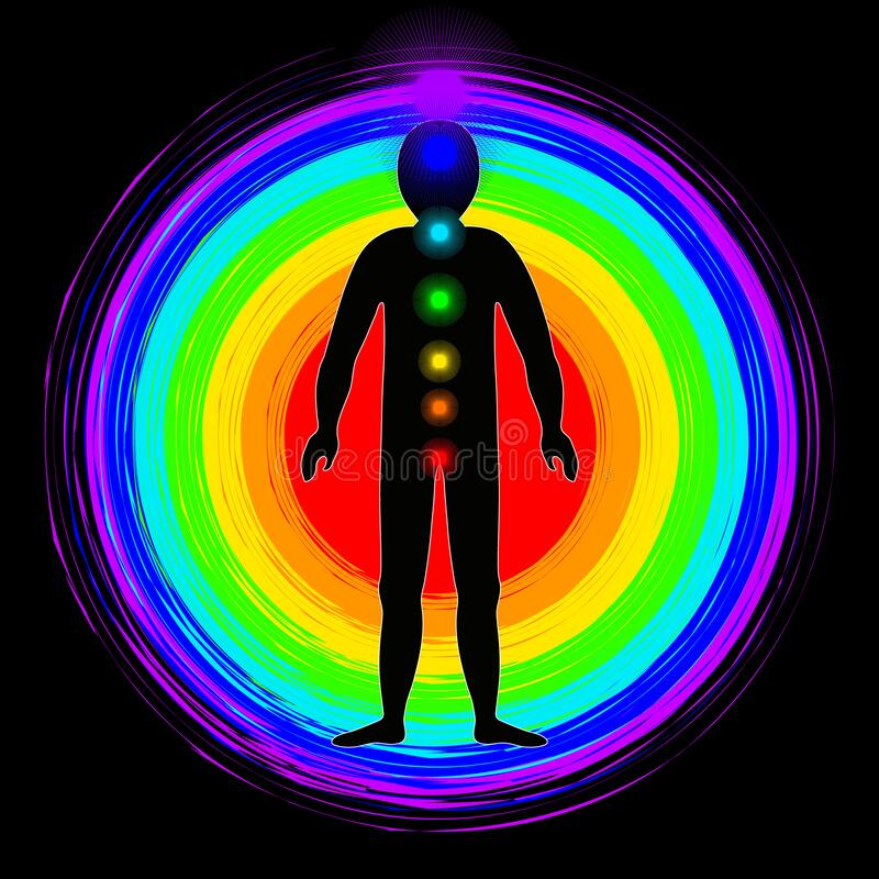 The aura of the body. Rainbow color marked layers of the male body. Etheric, emotional, metallic, astral, celestial and causal. Layer. Isolated on black vector illustration