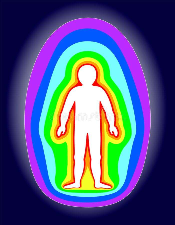 The aura of the body. Rainbow color marked layers of the male body. Etheric, emotional, metallic, astral, celestial and causal. Layer. Isolated on black royalty free illustration