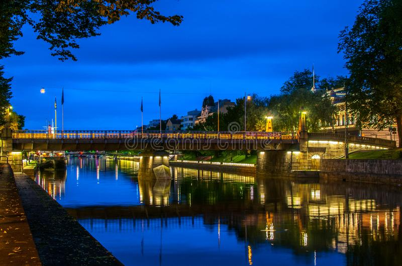 Aura Bridge in Turku stockbild